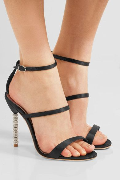 Sophia Webster - Rosalind Crystal-embellished Satin Sandals - Black - IT