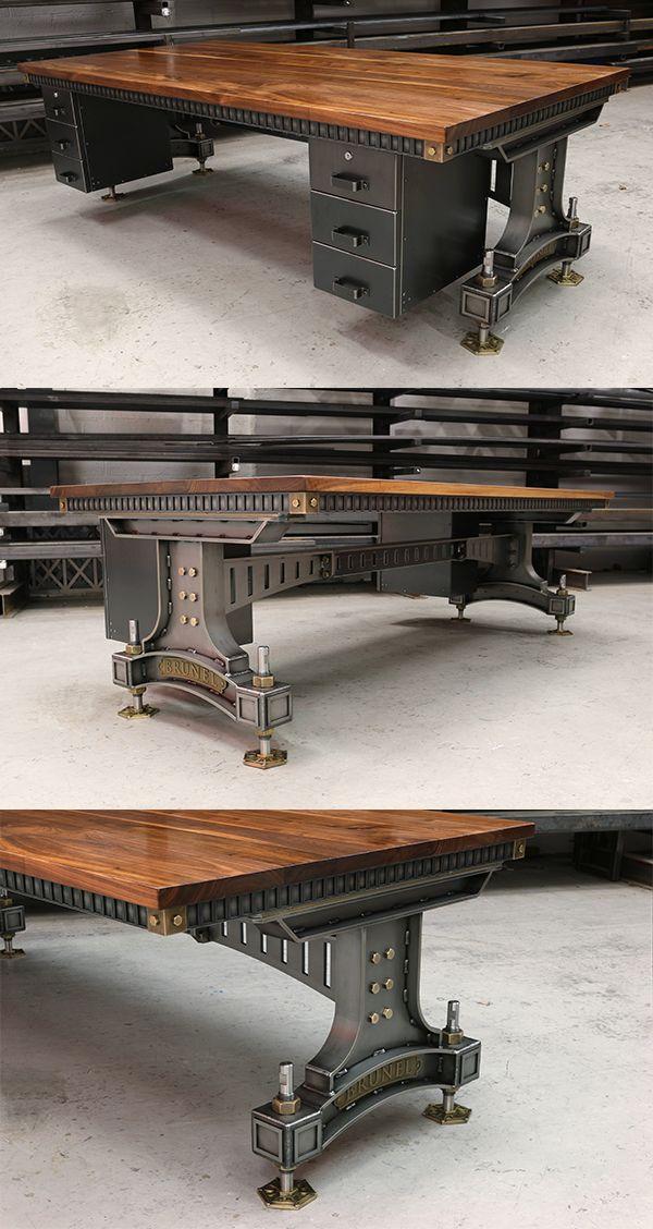 The Brunel Desk Handmade Industrial Desk Uk Steel Vintage Industrial Design Furniture Vintage Industrial Furniture Industrial Livingroom