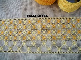 Embroidery Screen Blossom. The fabric has had threads drawn to ensure the rows run true.