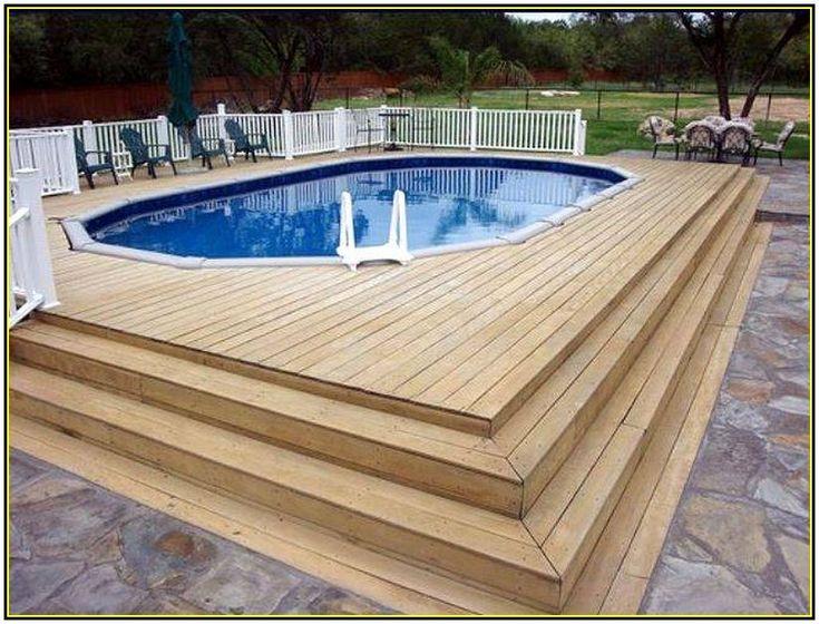 Above ground pool deck ideas wood pool pinterest for Above ground pool backfill ideas