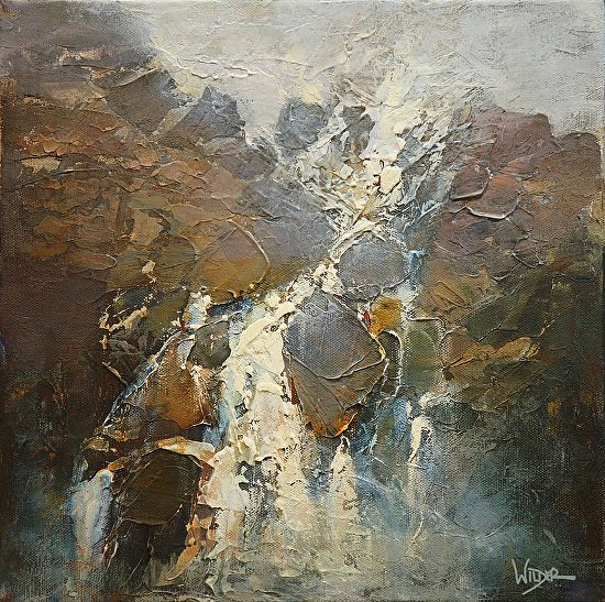 Cascading Abstraction by Linda Wilder Acrylic ~ 12 x 12