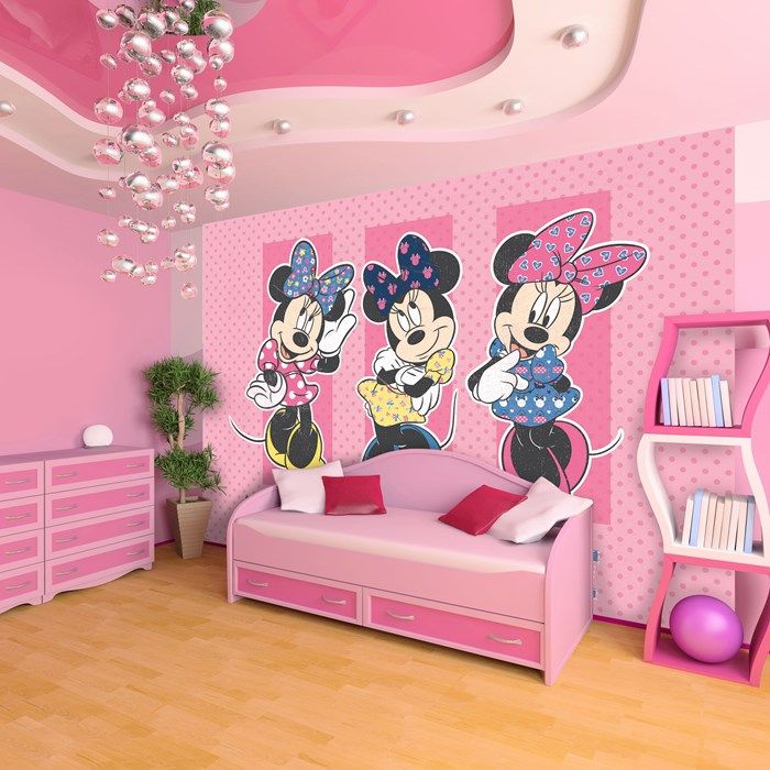 this pretty in pink digital mural featuring disney 39 s most. Black Bedroom Furniture Sets. Home Design Ideas