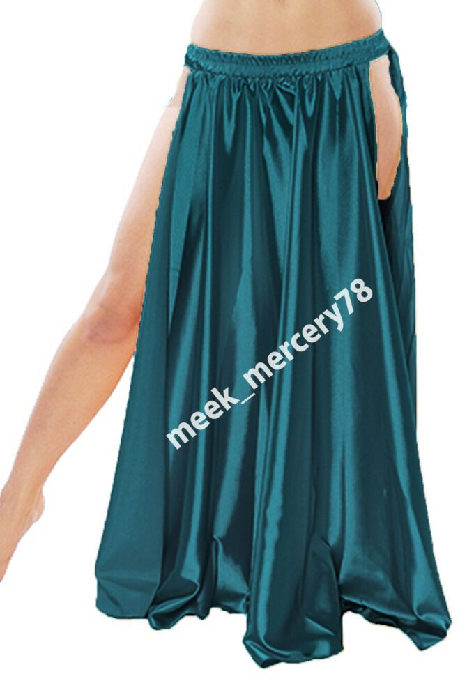 Belly Dance Costume Womens Chiffon Long Skirt 2 Sides Slit Skirt Dress Dancewear