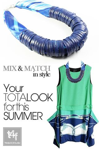 MIX & MATCH IN STYLE WITH T4F JEWELLERY!   Ur EARLY DRINK Total Look =  1 part of funky dress  1 part of fashion necklace  Add your favorite cocktail & Ready to SHAKE it!            ( Dress by #sheinside  – Necklace by #trash4flash )  #‎springsummer2013‬ #fashionjewellery #fashionnecklace #fashion #cocktail    www.trash4flash.com