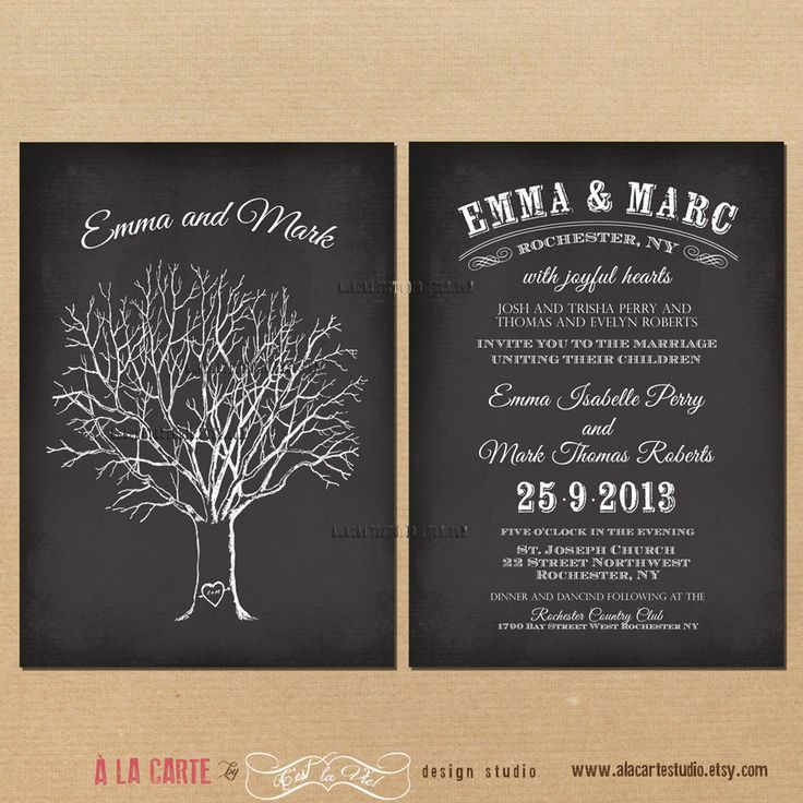 summer wedding invitation wording%0A Tree with Initials Chalkboard Wedding Invitation  Oak tree wedding  invitation  Typography Invitation