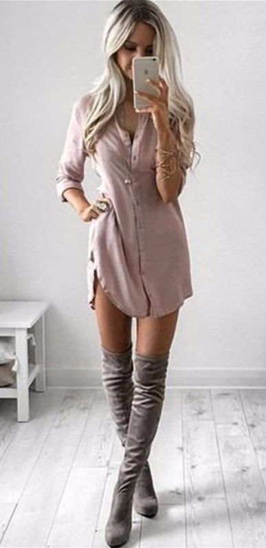 You'll look sexy and relaxed in this pink Casual Dress. This is a really cute mini dress to wear a any day of the week!! See this awesome cute sexy dress at http://www.cutedresses.co/product/casual-sexy-shirt-mini-dress/