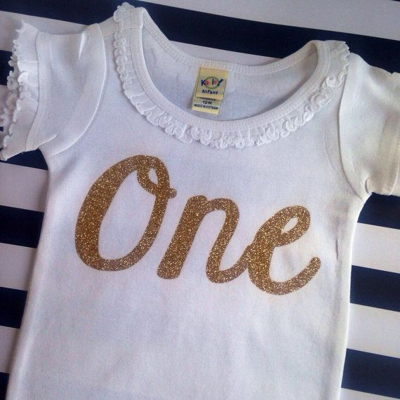 Baby Girl First Birthday Outfit Gold Foil One-Piece First Year