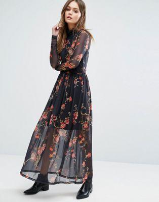 Vero Moda - Vestito lungo in tessuto a rete a fiori con collo alto