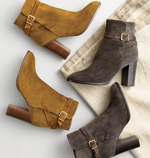 J.Crew women's suede ankle boots with wraparound buckle in vintage amber and dark onyx.