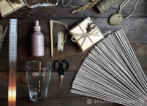 Купить Мастер-класс по плетению подстаканника из бумажной лозы в формате PDF - Плетение из лозы, серый