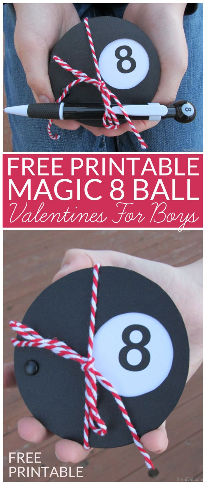 Boys Valentines Idea - Magic 8 Ball Valentines Cards. These DIY Valentines are easy to make with free printable pattern. Frugal craft uses only black and white card stock, a printer, and black brads. Add cute Magic Eight Ball Pen for fun, non-candy Valentines. A great free Valentine for Boys.