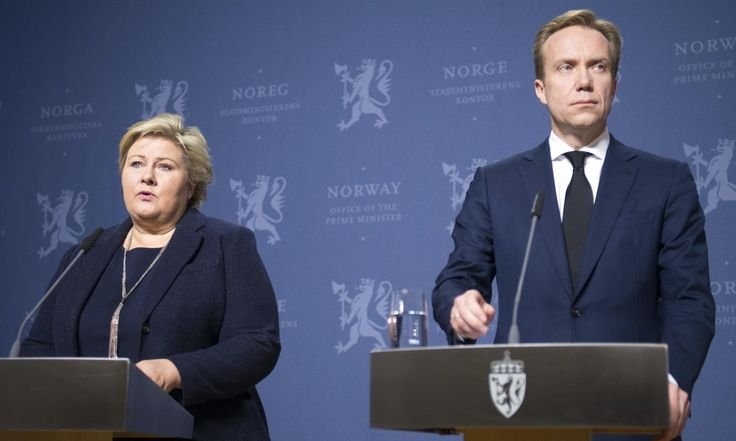 The prime minister of Norway, Erna Solberg, holds a press conference to address reports that a Norwegian hostage held by Islamic State has been executed