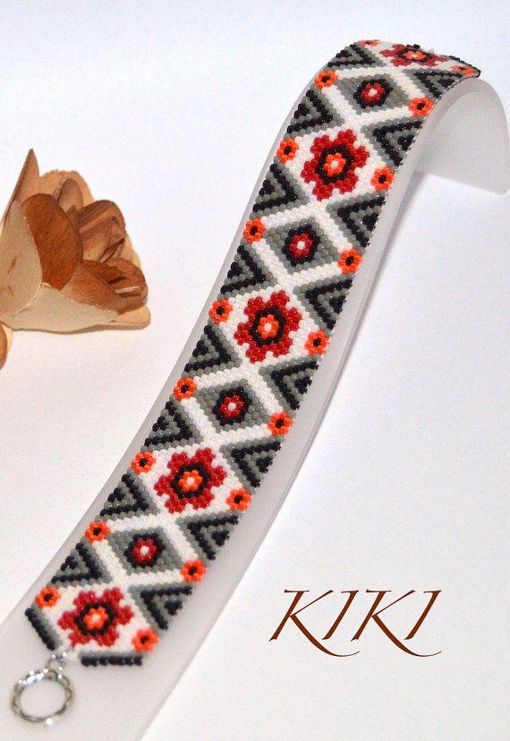 Rhythm of flowers peyote beaded bracelet with by KikisBeadArt