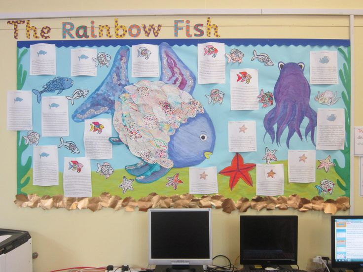 How amazing is this Rainbow Fish display? The beautifully drawn background is finished off with the children's neatest writing on page borders from twinkl!