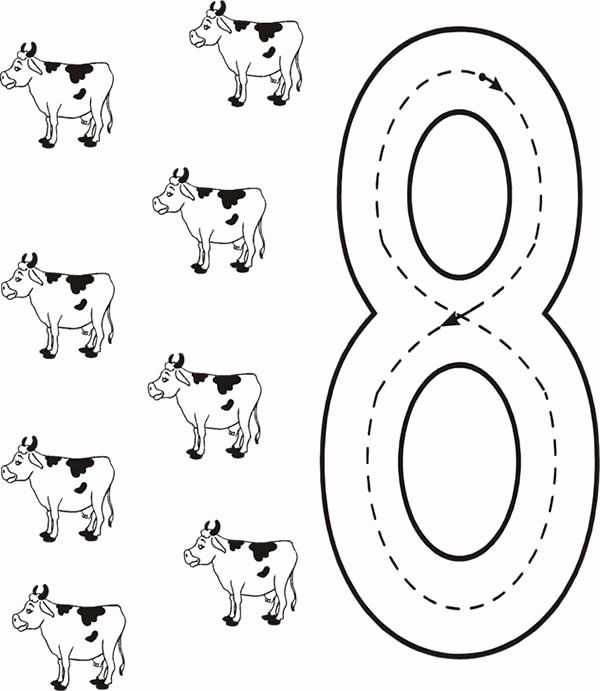 28 Number 8 Coloring Page In 2020 Cow Coloring Pages