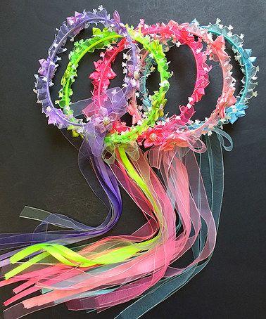 Pink & Blue Flower Halo Headband Set #zulily #zulilyfinds