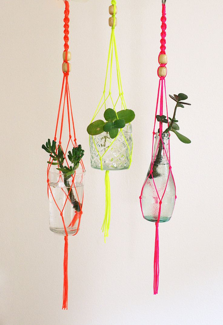 I made these when I was a kid... There is not way I would pay $35 for these! Small macrame plant hanger - neon yellow. $35.00, via Etsy.