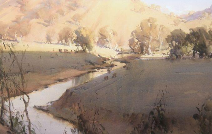 Ross Paterson : Watercolour : Australia Evening Creek