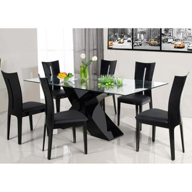 HABITAT ET JARDIN Table repas Mona - 150 x 90 x 75 cm - Noir ...
