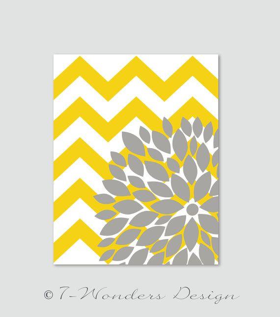 "Flower Bursts Botanical Print with Chevrons -11"" x 14"" //Yellow and Grey // Digital Fine Art Modern Wall Art Prints Home Decor on Etsy, $22.00"