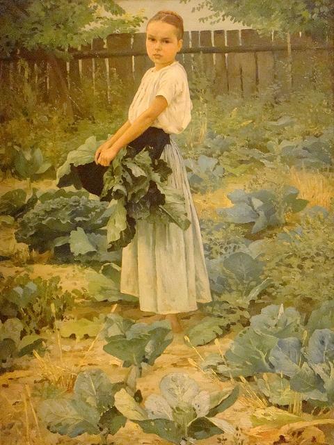 """""""Little Girl in the Vegetable Garden"""", 1893 by János Vaszary (Hungarian (1867 - 1939)"""