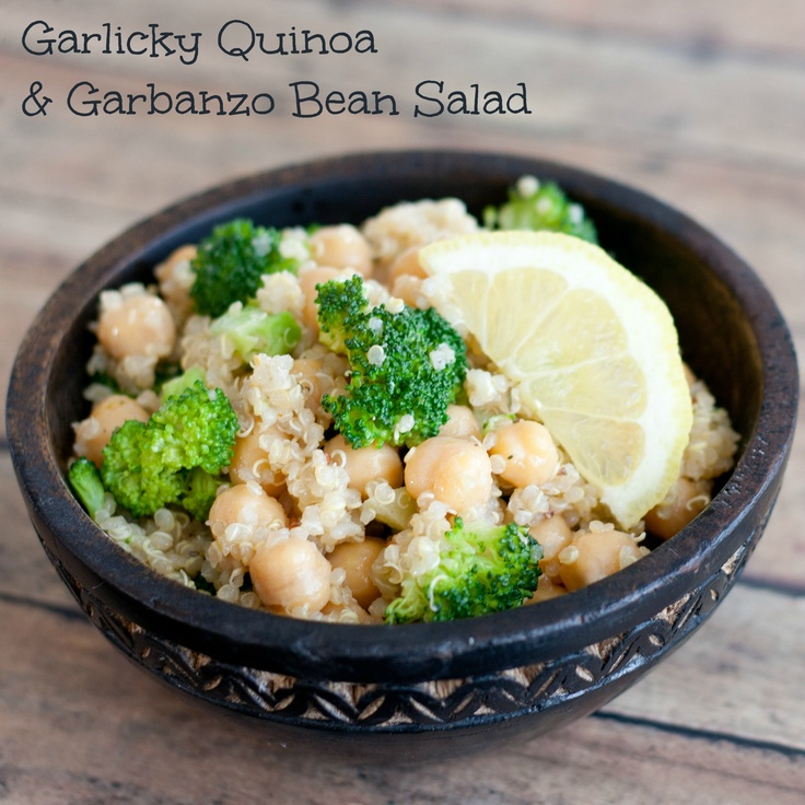Garlicky Quinoa and Garbanzo Bean Salad - this dish is a meal in itself: it contains a good fat (olive oil), green vegetables (broccoli), a whole grain (quinoa), and a protein source (garbanzo beans)!