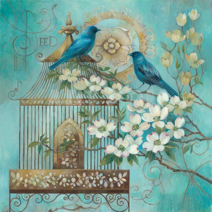 Blue Birds and Dogwood Art Print by Elaine Vollherbst-Lane at Art.com