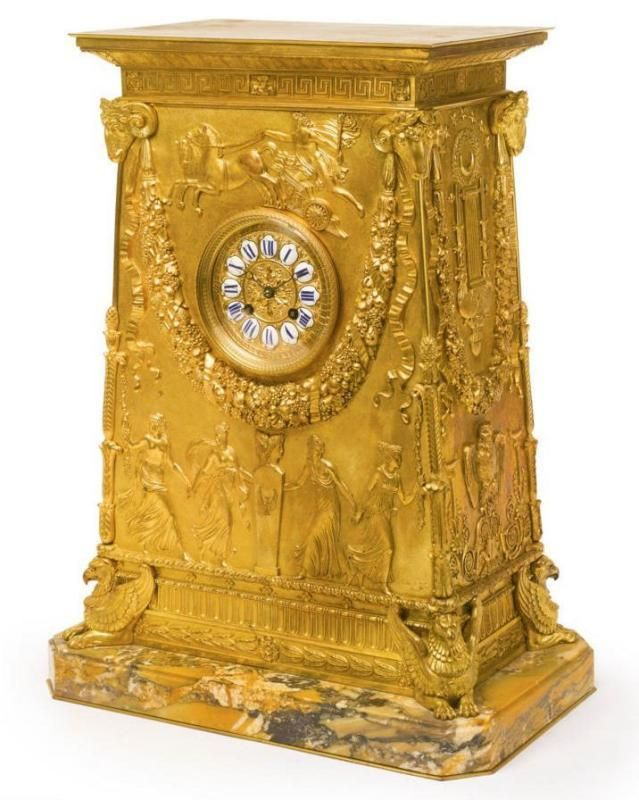 Antique French Empire Style Gilt Bronze Mantel Clock After Percier et Fontaine