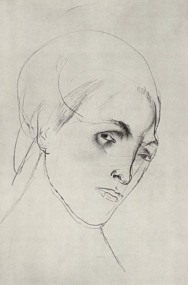 Sketch of a woman's head to the picture Mother - Kuzma Petrov-Vodkin, 1911