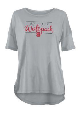 Royce Girls' Nc State Wolfpack Hip Script Short Sleeve Tee Shirt - Gray - Xl