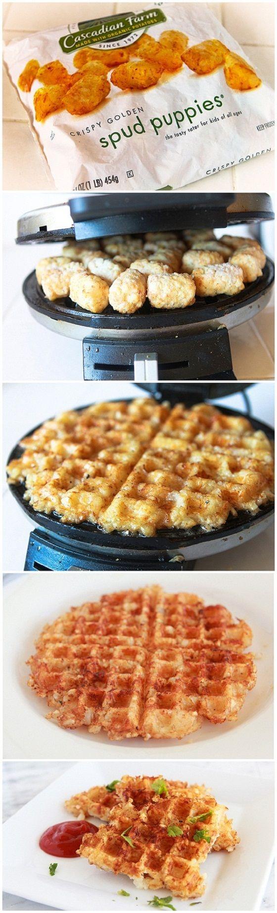 Idée intéressante pour maximiser l'utilisation du gauffrier: mettre des patates rissolées du commerce pour former une galette.
