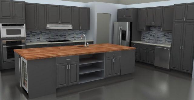 Grey Kitchen With Butcher Block : 13 best grey kitchen images on Pinterest Gray kitchens, Grey kitchens and Grey kitchen cabinets