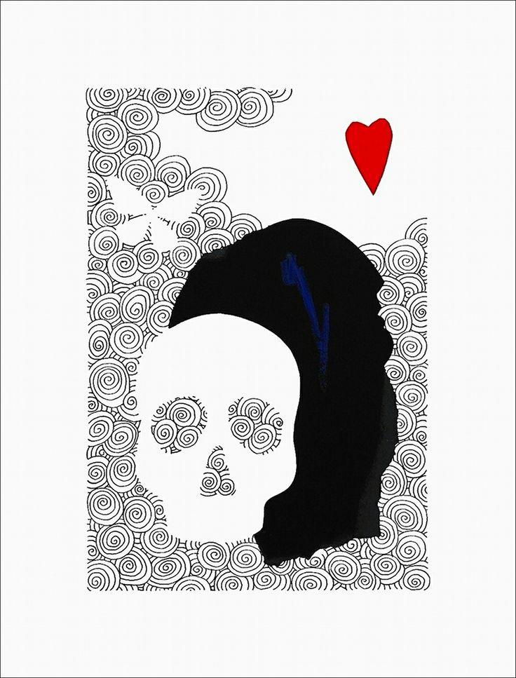 """Con cuore leggero"" pennarello, pastello e collage cu cartoncino cm 30x40; 2014 #andreamattiello #art #contemporaryart #artist #artistaemergente #pennarello #pastello #collage #cartocino #cardboard #heart #butterfly #skull"