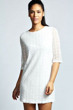 Amelia Fitted Circle Lace Shift Dress