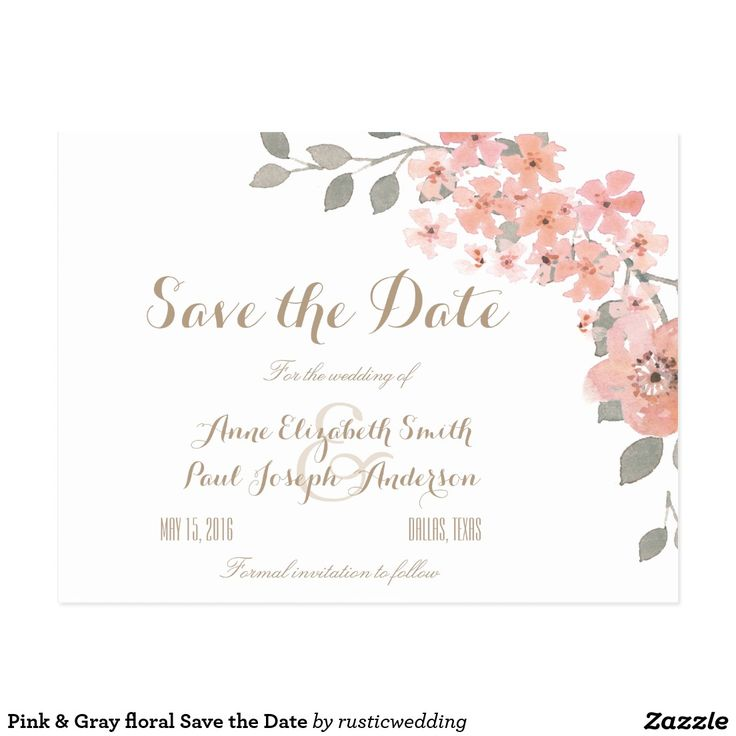 Pink & Gray floral Save the Date