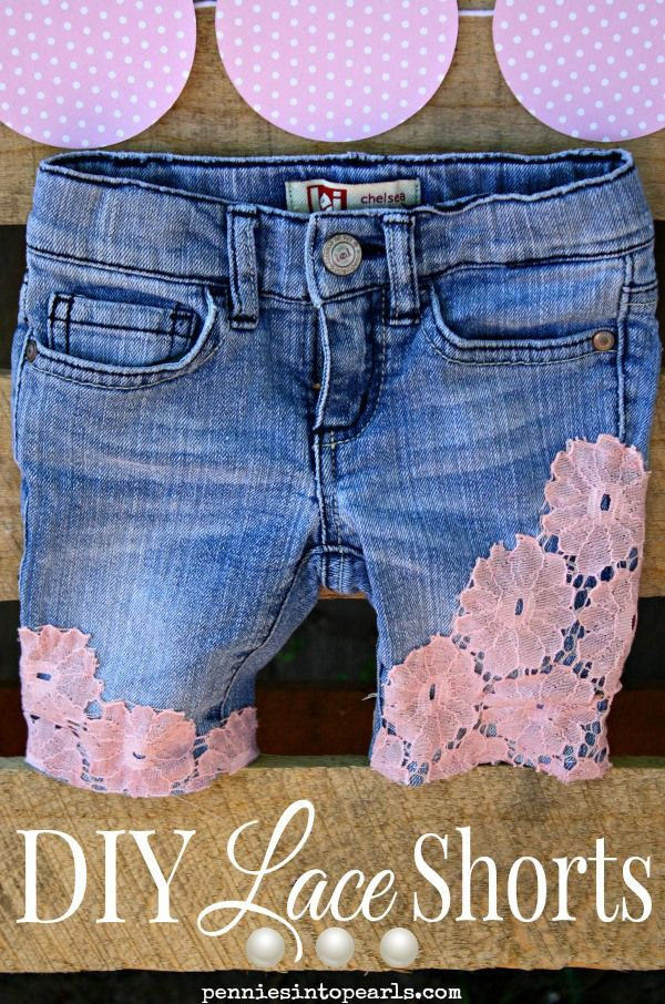 DIY shorts - penniesintopearls.com - DIY lace shorts are a easy way to update your closet from winter to warm. Spring fashion 2015 and summer fashion 2015