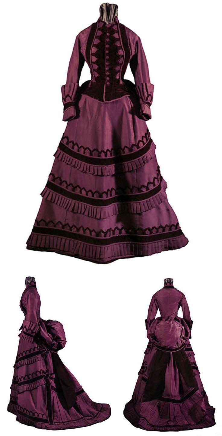 circa 1870 gown   Day dress, American, circa 1870-1875. Silk faille and velvet. Via ...
