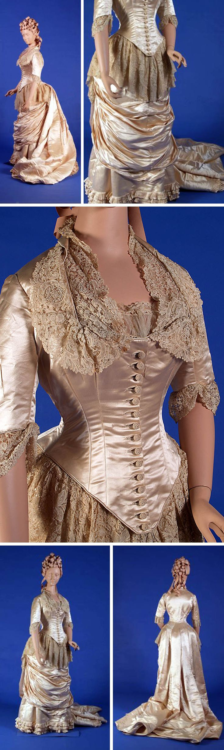 Wedding dress, American, ca. 1885. Cream silk satin, Rosepoint lace. Bodice has square neckline, lace trim, elbow-length sleeves, long train. Skirt has satin ruched in front, lace swags over hips, small pleated ruffles trim at hem. Kent State Univ. Museum