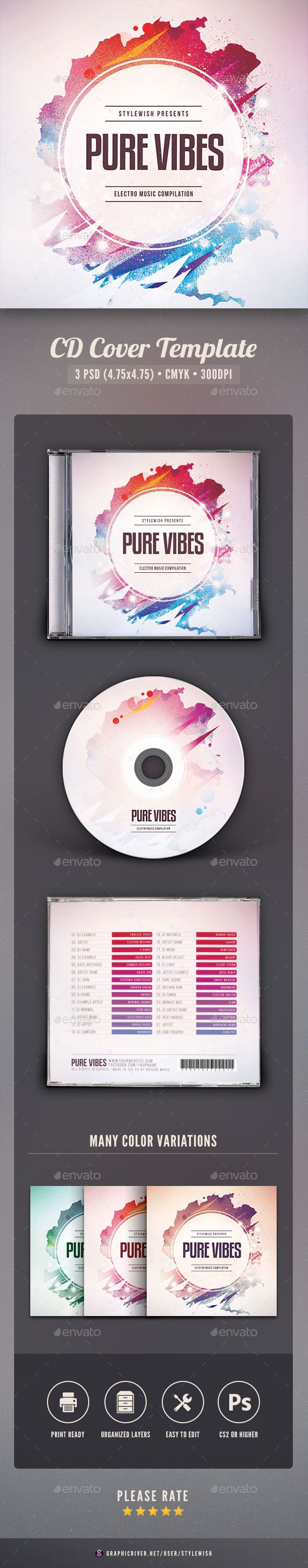 Pure Vibes CD Cover Artwork Template PSD. Download here: http://graphicriver.net/item/pure-vibes-cd-cover-artwork/16487199?ref=ksioks