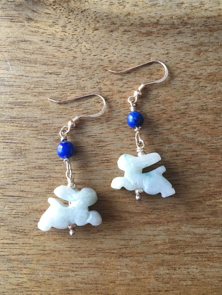 Jade Earrings - Chinese Zodiac Carved Jade Rabbit and Lapis Lazuli Bead 925 Sterling Silver Earrings by RitaCollection on Etsy
