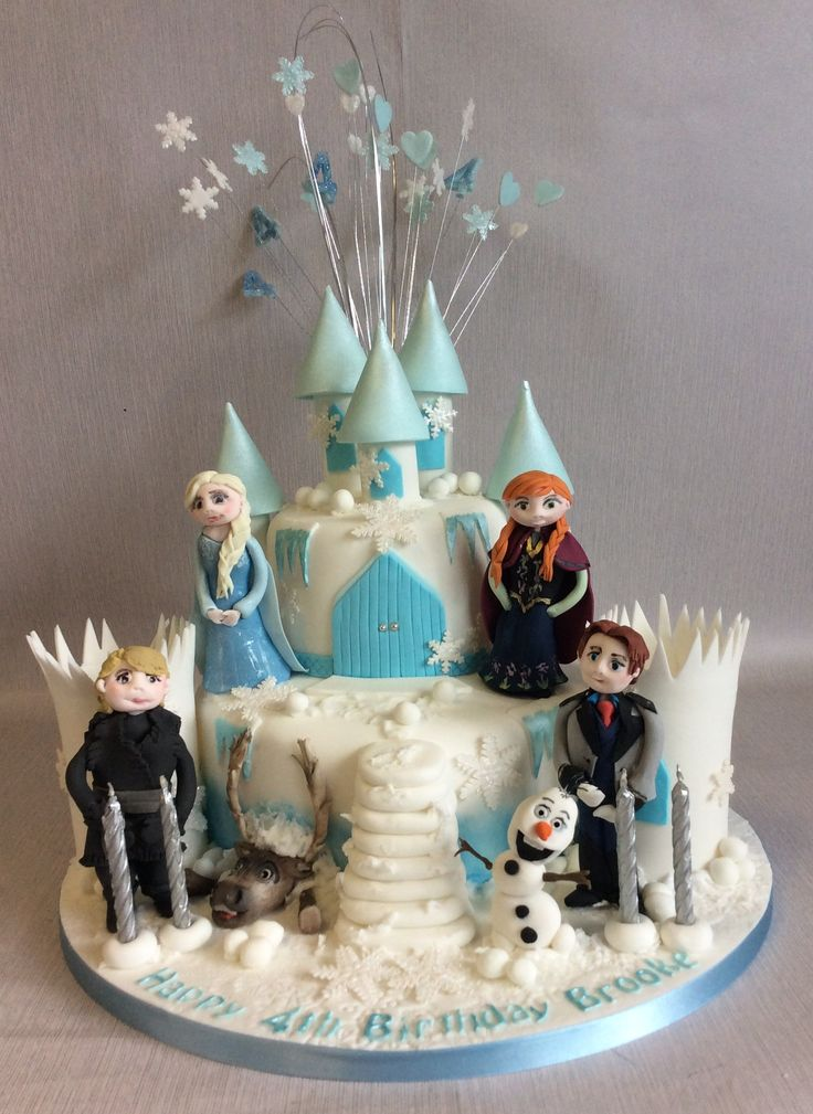 2 Tier Frozen Castle With 6 Handmade Sugarcraft Character