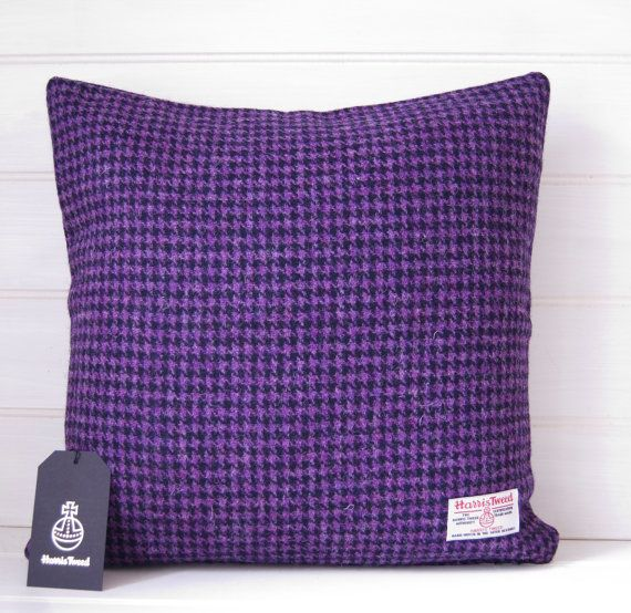 Harris Tweed Purple Cushion Cover Houndstooth by GreenCallow