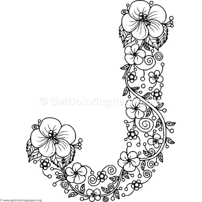 Download This For Free Floral Alphabet Letter J Coloring Pages