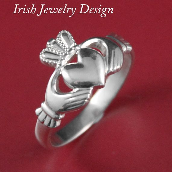 Womens Sterling Silver Claddagh Celtic Ring by IrishJewelryDesign, $29.99