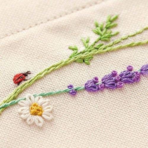 Japanese Embroidery Kit Beginner Kazuko Aoki Embroidery DIY Kit Easy Stitch Tutorial Herb Tea Mat Hand Embroidery Design EK003 (19.00 USD) by JapanLovelyCrafts
