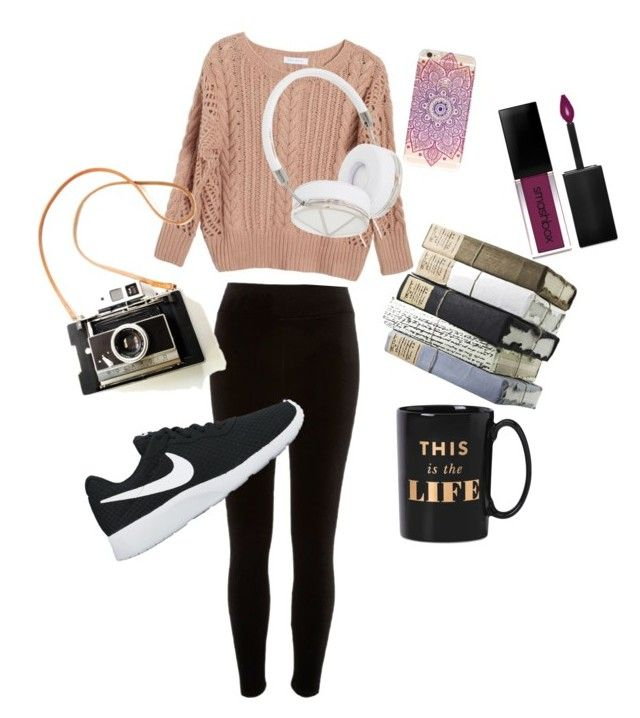 """""""Cozy Autumn"""" by chrysapan on Polyvore featuring River Island, Ryan Roche, NIKE, Frends, Kate Spade and Smashbox"""