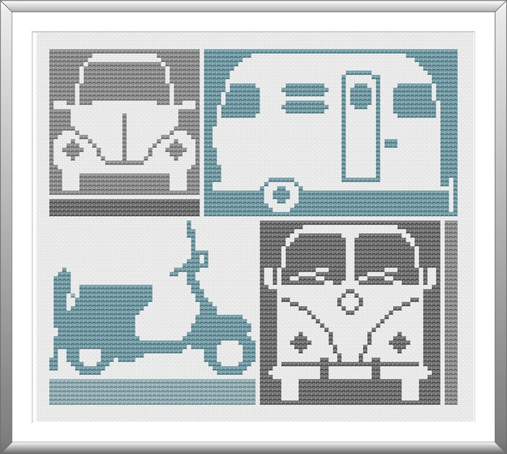 Retro Things that Go Cross Stitch Pattern