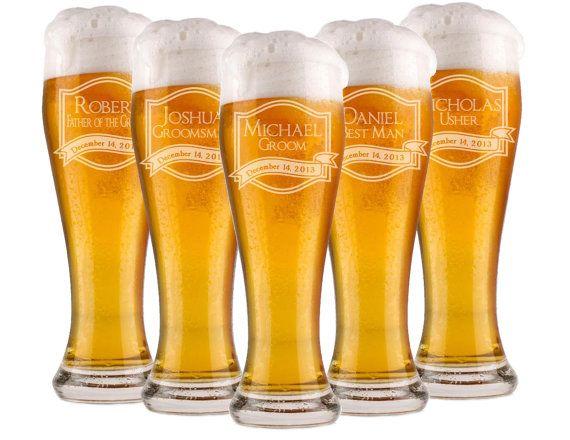 3 Custom Beer Glasses, Wedding Party Favors, Groomsmen Gifts, Will you be my Groomsman, Unique Groomsmen Gift, Beer Mugs, Custom Pilsner on Etsy, $31.50