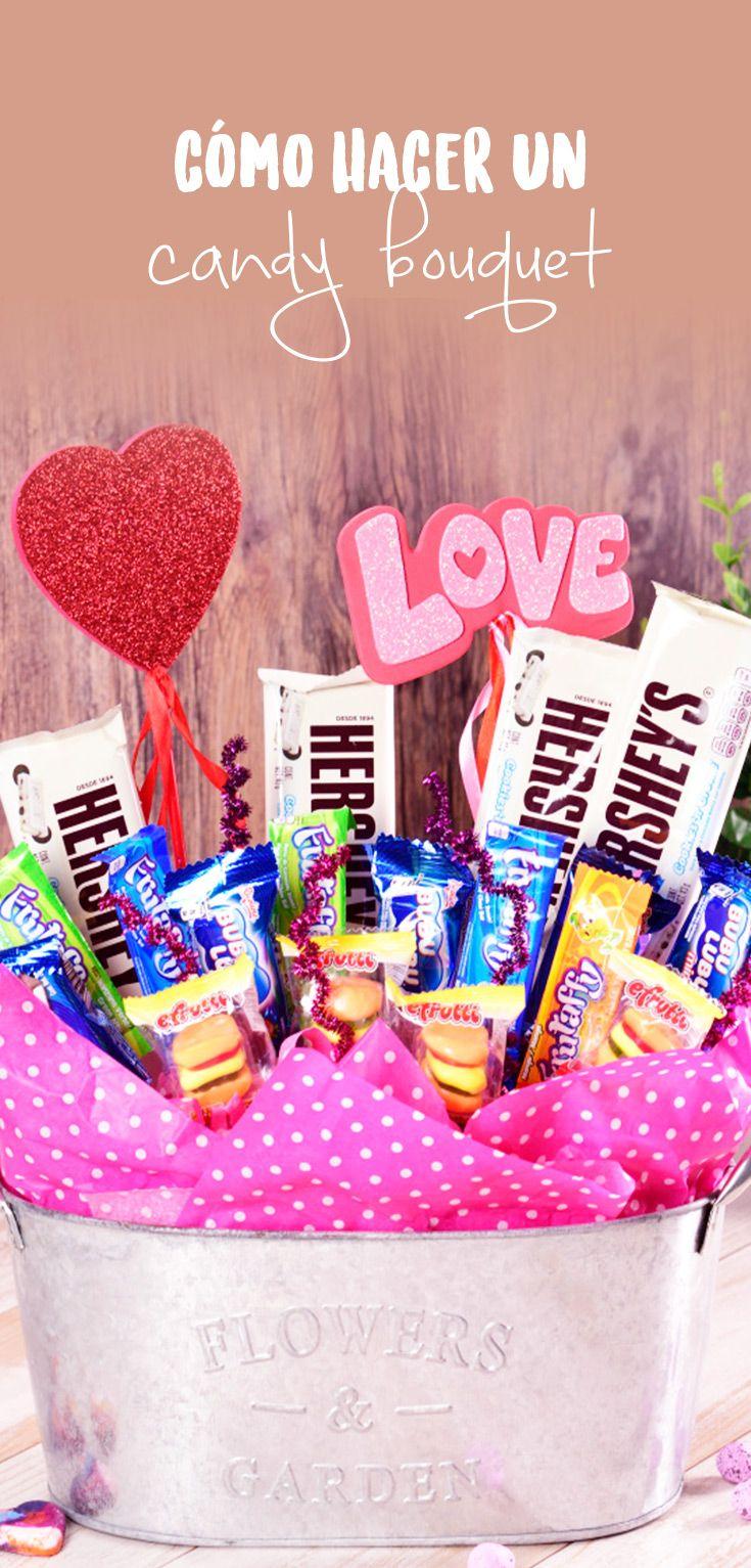Este tip es una forma diferente de regalarle dulces a alguien; formando un bouquet con las diferentes golosinas preferidas de esta persona especial. Es el regalo perfecto de San Valentín.