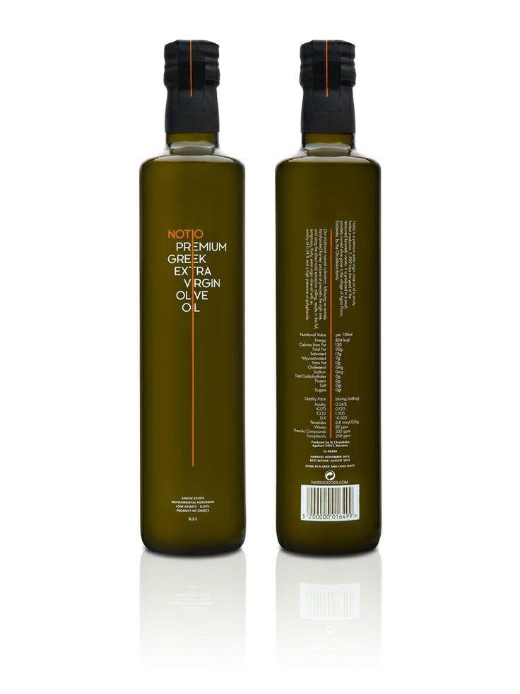 Notio Premium Extra Virgin Olive Oil  Designed by The Comback Studio, Notio Premium Extra virgin Olive Oil is the first of a series of products under the same brand name, all of which are produced on an estate located at the village of Agios Floros in the Messinia region, on the south of Peloponnese in Greece. Each bottle is individually numbered, with its unique number written by hand on the top of the safety strip that secures the cap.